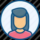 accountent, admin, avatar, female, female user, people, person, profile, user, women icon icon