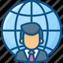 client, customer, globe, internet, man, user, world wide icon icon