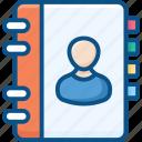 account, phone book, profile, ui, user, user book icon icon