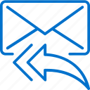arrow, communication, email, envelope, letter, message, reply icon