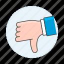 1, disagree, dislike, down, hand, media, no, social, thumb icon