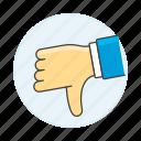 2, disagree, dislike, down, hand, media, no, social, thumb icon