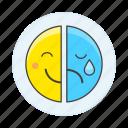 bipolar, depressive, emoji, happy, media, mood, sad, smile, social, tear