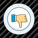 button, down, media, dislike, thumb, hand, circle, social icon