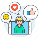 app, call, chat, comments, discussions, emoji, heart, like, male, media, phone, social, video, voicechat