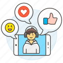 discussions, media, video, social, app, comments, heart, emoji, chat, male, phone, call, like, voicechat