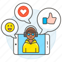 like, comments, app, media, discussions, emoji, chat, call, male, social, heart, video, phone, voicechat