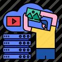 cloud, data, database, internet, network, server, social