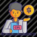ceo, cost per click, cpl, marketing icon