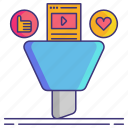 content, curation, funnel, marketing icon