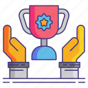 hands, stories, success, trophy icon