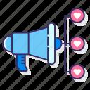 hearts, campaign, media, megaphone icon