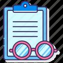 case, eyeglass, media, study icon