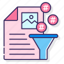 content, curation, filter, hashtags icon