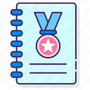 award, notebook, stories, success icon