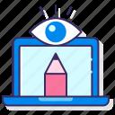design, eye, laptop, pencil, visual icon