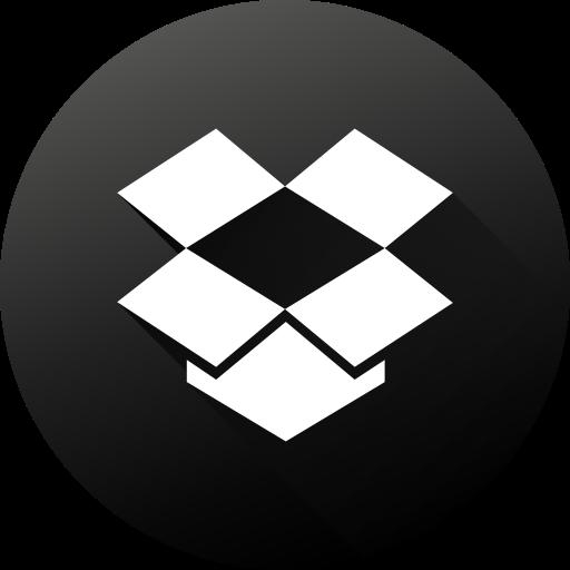 black white, dropbox, gradient, long shadow, media, social, social media icon