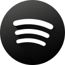 black white, gradient, long shadow, media, social, social media, spotify icon