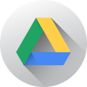 circle, google drive, gradient, long shadow, media, social, social media icon