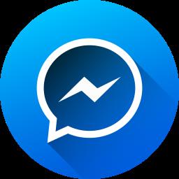 circle, gradient, long shadow, media, messenger, social, social media icon