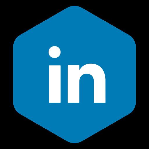 hexagon, in, linked, media, polygon, social icon
