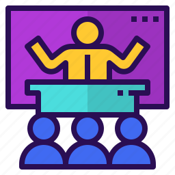 conference, presentation, seminar, teaching, training icon