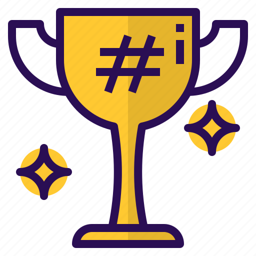award, cup, hashtag, medal, trophy icon
