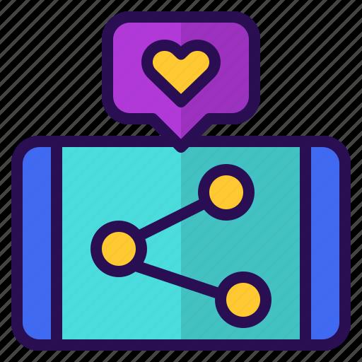 like, love, marketing, media, mobile, sharing, social icon