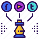 marketing, media, plan, social, strategy icon