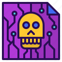 content, digital, doucment, internet, mail, online, skull, spam icon