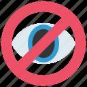 ban, don't look, eye, limitation, media, network, social icon