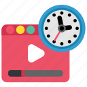 browser, media, movie, network, social, timer, video icon