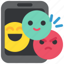 emoji, media, mobile, network, shat, smartphone, social icon