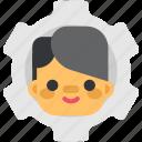 avatar, gear, man, media, network, settings, social icon