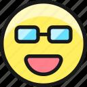 smiley, glasses