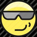 smiley, smirk, glasses