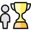 award, trophy, person icon