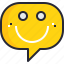 communication, emotion, feeling, happy, speech bubble, talk, talking icon
