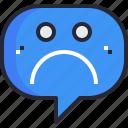 communication, emotion, feeling, sad, speech bubble, talk, talking icon