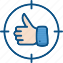 like, network, seo, social media, target, thumb up icon icon
