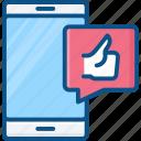like, mobile, phone, smart, thumbs, thumbs up icon icon