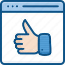 facebook, good, like, online, thumbs, up, webpage icon icon