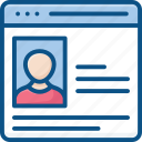 profile, profile popup, user, user details, web page, web profile, wireframe icon icon