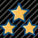 ratings, rising star, shooting star, star, three stars icon icon