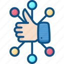 circle, connection, group, like, network, social, thumb icon icon