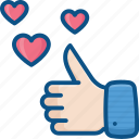 favorite, hand gesture, heart, hearts, like, like icon, ok, thumbs up icon icon