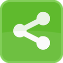communication, connection, green, network, share, square icon