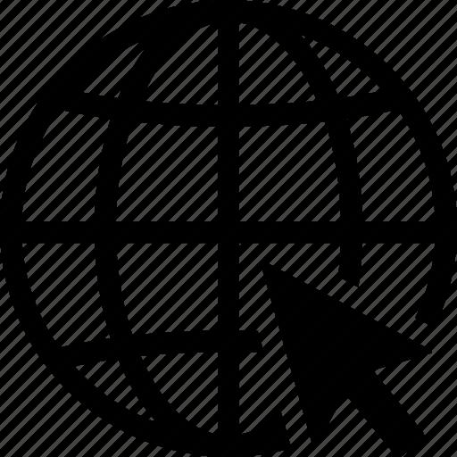 arrow, click, goto, internet, web, website, world icon