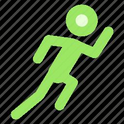 circle, exercise, fitness, orange, run, running, workouticon icon