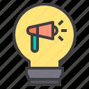 idea, innovation, megaphone, network, social